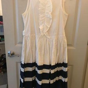 Lands' End White Dress with Navy Blue Stripes